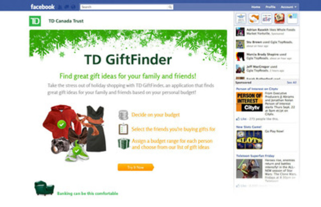 new td app on facebook delivers tailored  t ideas for