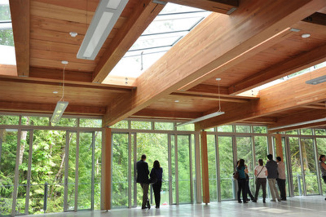 caption north shore credit union environmental learning centre a showcase for wood innovation cnw groupcanadian wood council for wood works bc - Innovative Wood Beam Ceiling