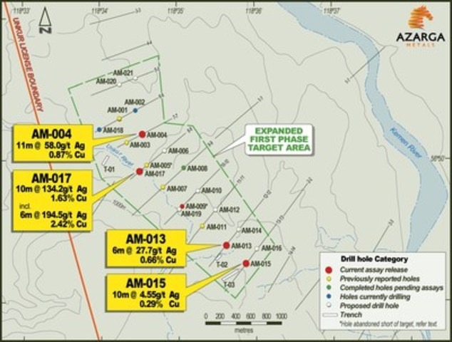 Azarga metals drills 10m at 1342gt silver and 163 copper at image with caption map 1 unkur silver copper project first phase exploration drill hole and trench locations note as yet undrilled hole locations are pooptronica